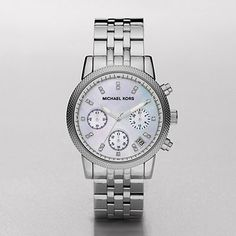 WATCHSTATION® : The Ritz Silver Tone Chronograph Watch MK5020