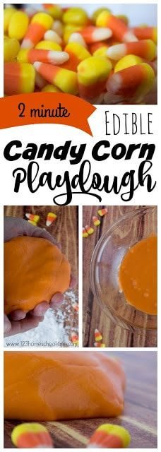2 minute, EDIBLE Candy Corn Playdough Recipe - this candy corn craft is made from an easy candy corn recipe to make homemade playdough from halloween candy - Candy Corn! Easy, Edible, and uses only 2 ingredients! Perfect fall activity for kids from Easy Fall Crafts, Fall Crafts For Kids, Diy For Kids, Help Kids, Preschool Kindergarten, Toddler Preschool, Toddler Classroom, Autism Classroom, School Classroom