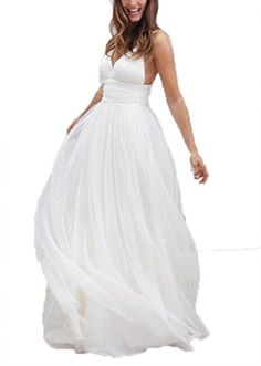 Fanciest Womens Spaghetti Straps V Neck Beach Wedding Dresses for Bride 2016 Ivory US26W -- Click on the image for additional details.