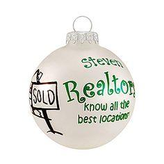Personalized Realtor Xmas Ornaments #realestate #realtor Personalized Christmas Ornaments, Xmas Ornaments, Christmas Bulbs, Light Decorations, Christmas Decorations, Holiday Decor, Real Estate School, Christmas Wonderland, Realtor Gifts