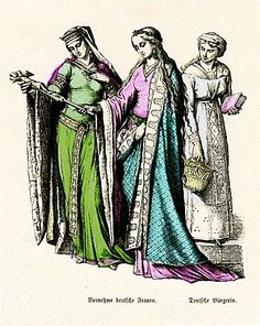 Two German noblewomen and a middle-class woman in early Medieval dress (10th or 11th century).