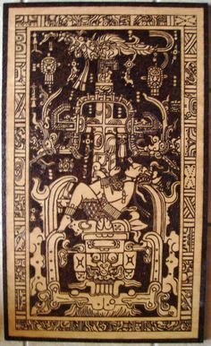 Pakal the Great (603-683) descending into Xibalba, bordered by astronomical glyphs representing Sun, Moon, Venus, and various constellations. Below is the Maya water god, guarding the underworld. To escape the open jaws of a serpent, Pakal must ascend the world tree into the celestial realms.
