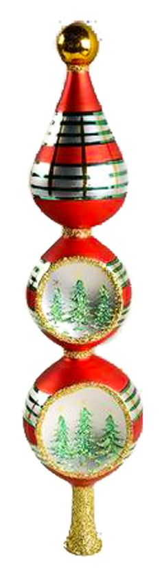 Christopher Radko - SCOTCH PINE FINIAL - Christmas Ornaments - Tree Topper - Tier - Reflector - Red - Green - Christmas Tree - Vintage 1994