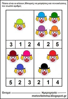 Kindergarten, Preschool Math, Carnival Crafts, Blank Coloring Pages, Daycare Themes, Le Clown, Alphabet For Kids, Pre School, Toddler Activities