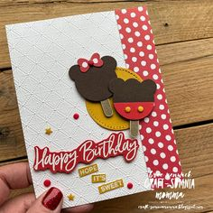 Craft-somnia Momma: Sweet & Magical Mickey Ice Cream. Used the Ice Cream Cone Builder Punch and the Happy Birthday sentiment from Sweet Ice Cream stamp 2nd Birthday, Birthday Cards, Disney Birthday Card, Birthday Greetings, Happy Birthday, Disney Cards, Party Pops, Icecream Bar, Little Elephant