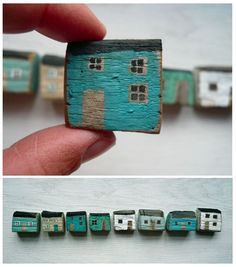 Love these painted houses and wooden accessories by Valériane Leblond.valeriane-leb… Love these painted houses and wooden accessories by Valériane Leblond. House Painting, Painting On Wood, Wood Projects, Craft Projects, Diy And Crafts, Arts And Crafts, Driftwood Crafts, Wooden Crafts, Miniature Houses
