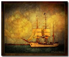 """The Voyager ~ Three-masted schooner, or """"Tall Ship"""" sailing into Navy Pier on Lake Michigan, Chicago, IL Boat Art, Missing Piece, Tall Ships, Lake Michigan, Pirates, Sailing, Chicago, Romance, Paintings"""