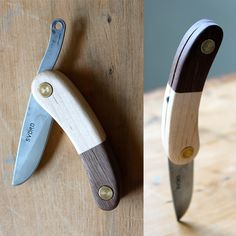The KUT friction folding knife features a carbon steel Svörd blade made in New Zealand.  Each blade is hand forged, and therefore a little different in appearance.   The handle is hand made from quality hard woods and features and ultra simple design based off of a 3-400 year old peasant knife...