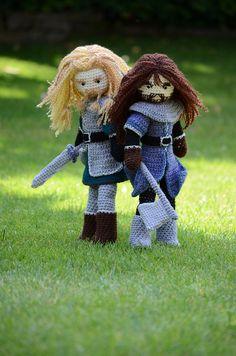 Oh my gosh!  They're so cute!  ~ Fili and Kili crocheted dolls.