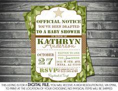 Boys Baby Shower Invitation  Army by SassyGraphicsDesigns on Etsy