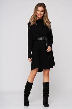 Rochie SunShine neagra din material elastic cu croi larg cu buzunare si accesoriu tip curea. Casual, Sweaters, Dresses, Fashion, Vestidos, Moda, Fashion Styles, Sweater, Dress