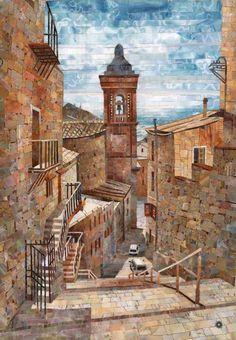 мозаичная картина Колокольня старого города
