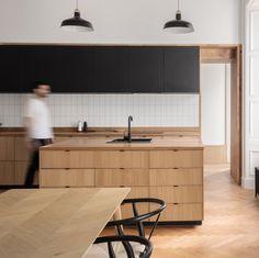 Green Apartment, Apartment Interior, Kitchen Interior, Ikea Kitchen Cabinets, Wooden Cabinets, Herringbone Tile Floors, Oak Cupboard, Grey Sectional Sofa, Interior Desing