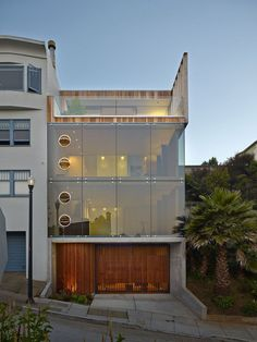 Exterior view on windows with remarkable opening parts at a residential house in San Francisco, California USA by Craig Steely Architecture