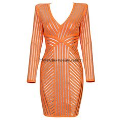 Herve Leger Orange V-neck Silver Strips Bandage Dress H903O