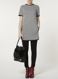 White and Black Geo Printed Tunic - Dorothy Perkins