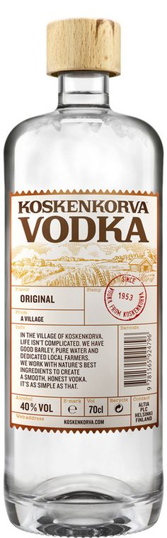 Koskenkorva Vodka Wine And Spirits, Vodka Bottle, Pure Products, The Originals, Product Design, Lakes, Image, Finland