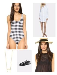 A menswear inspired shirtdress is effortlessly chic over an all-American gingham print bathing suit.