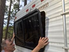 New camping trailer remodel rv makeover glamping Ideas Glamping, Do It Yourself Camper, Rv Windows, Camper Repair, Travel Trailer Remodel, Airstream Remodel, Cool Campers, Micro Campers, Teardrop Campers