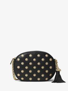 149720d9ab4936 MICHAEL Michael Kors Ginny Studded Medium Messenger Studded Leather,  Leather Clutch, Michael Kors Black