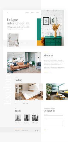 Unique Interior Design - Landing page - Webdesign - Werbung aus Deutschland Web Layout, Layout Design, Ux Design, Web Design Color, Flat Design, Decoration Inspiration, Website Design Inspiration, Fashion Website Design, Interior Design Presentation
