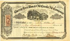 Cherry Tree Run & Oil Creek Oil Co., Philadelphia, Pa., Aktie von 1865 + RARITÄT
