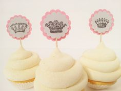 French Inspired Crown Cupcake Toppers Birthday by LazyDayCottage