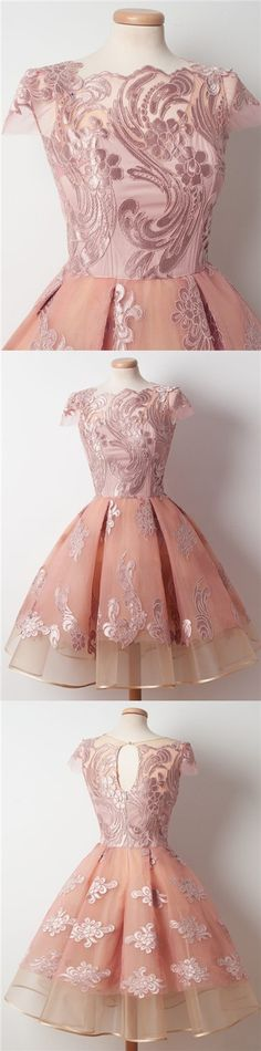 2017 Homecoming Dress Chic Appliques Ball Gown Short Prom Dress Party Dress JK224