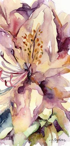 Original Small Purple Rhododendron Watercolor Painting