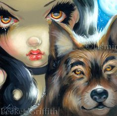 Faces of Faery 169 wolf moon werewolves big eye fairy face art print by Jasmine Becket-Griffith 6x6