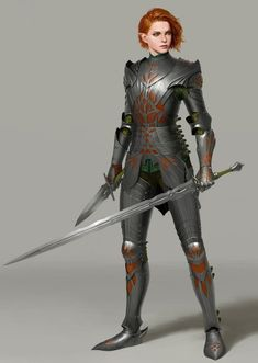 """Elven Knight by Un Lee  """"I really like plate armors. I often thought elves' armors in fantasy settings are lacking protections here and there. This is my attempt at correcting that while still maintaining the curved, flowing, Elfy feelings. I might do..."""