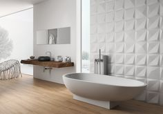 Here are 16 examples of contemporary bathrooms that have bathroom tiles that add texture and a sense of luxury to the bathroom. Neutral Bathroom Tile, Small Bathroom Tiles, Bathtub Tile, Bathroom Tile Designs, Shower Bathroom, Modern Bathroom, Master Bathroom, Bathroom Ideas, 3d Wall Tiles