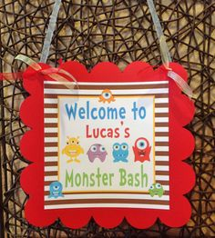 Little Monster Collection Door Sign  Red by EmeraldCityPaperie, $12.00
