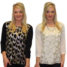 {New Holiday Looks Now Available Online And In Store!} Scalloped In Gold $52. Available In Black And Ivory.  Mixed Chain $22. #holiday #metallic #style #newitem #elysianlove  http://www.shopelysian.com/collections/new-items/products/scalloped-gold-tunic