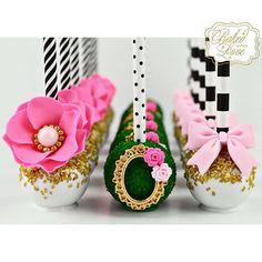 Kate Spade Garden themed cake pops for a bridal shower  #katespade #garden #katespadetheme #katespadecakepops #cakepops #chocolate #ediblemoss #paperstraws #miami #miamicakepops #miamibaker #bakedwithlove