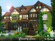 Country Lane is a very pretty family home in Tudor Style built on 40x30 lot in Newcrest. Found in TSR Category 'Sims 4 Residential Lots'