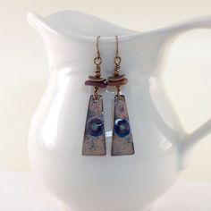Eyes Of Blue Enameled Metal Earrings by CinLynnBoutique on Etsy