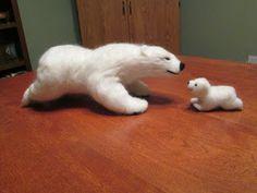 Pose-able needle felted polar bear
