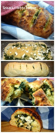 Spinach Fetta Damper - easy recipe to bake this bread yourself - a green and gold damper for Australia Day - perfect for BBQs, picnics. lunchboxes, or dinner parties.