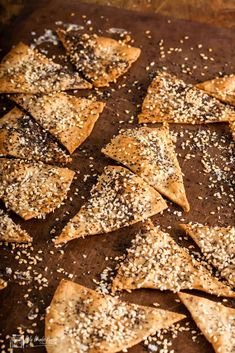 Crisp crunchy lavash crackers sprinkled with seeds. Easy to make and delicious served alongside middle Eastern style dips. Lavash Crackers Recipe, Flatbread Recipes, Cooking Recipes, Healthy Recipes, Healthy Foods, Savoury Biscuits, Great British Bake Off, Few Ingredients, Original Recipe