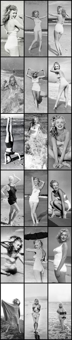 Marilyn Monroe: Iconic image of the Hollywood actress / sex symbol at the beach ….