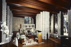 Storer House / 8161 Hollywood Blvd., Los Angeles, CA / 1923 / Mayan Revival / Frank Lloyd Wright -- The home's showstopper is its two-story living room, which opens onto terraces in both the front and back of the house.