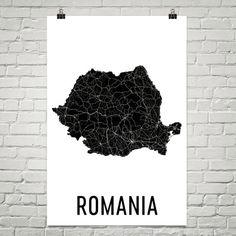 Romania Map, Romanian Art, Map of Romania, Romania Decor, Romania Gift, Romania Print, Romania Poster, Romania Wall Art, Romania Map Print