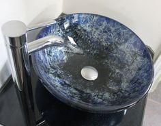 Metallic Cobalt Blue Hand Painted Graffiti Style Glass Bathroom Vessel SInk Basin Hand Made