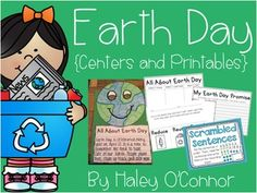 Earth Day I love celebrating Earth Day with my little friends! To get ready for this special day, we will be doing some fun literacy and math activities as well as lots of printable worksheets and fun activities! Take a look at the preview to see everything that is included! :) {Literacy Centers}Scrambled Sentences- Students put sentences in order and write them on the recording sheet Earthy Endings- Students sort words by -s, -ed, and -ing.