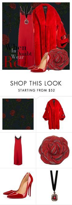 """When in doubt wear red"" by subvilli on Polyvore featuring Timorous Beasties, Dolce&Gabbana, La Perla, Judith Leiber, Christian Louboutin, Design Lab, red, coat, polyvoreeditorial and polyvorefashion"