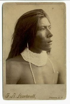 This is an exceptionally rare photo of a young Apache man that was taken by F.A. Hartwell who lived in Arizona Territory.