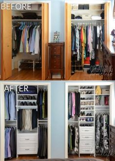 Master Bedroom Closet Makeover Before and After 907 109 1 Ask Anna organizing ::. Master Bedroom Closet Makeover Before and After 907 109 1 Ask Anna organizing :: closets Mary Williams still going to do this. Organiser Son Dressing, Master Bedroom Closet, Diy Bedroom, Bathroom Closet, Bedroom Ideas, Bedroom Small, Small Rooms, Small Beds, Bathroom Storage