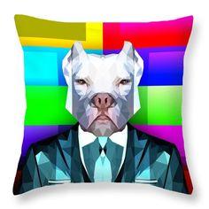 Abstract Pitbull Throw Pillow by Filip Aleksandrov