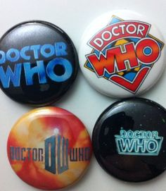 DOCTOR WHO INSPIRED 4 BUTTONS or MAGNETS TITLE SEQUENCE CARDS TARDIS GALLIFREY $3.75